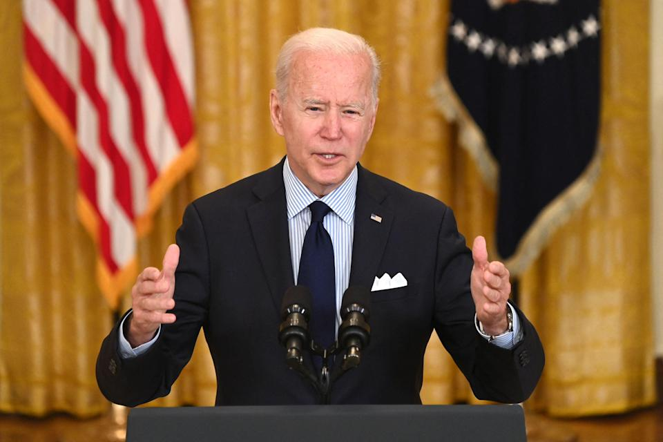 <p>Joe Biden addresses the disappointing April jobs numbers</p> (AFP via Getty Images)
