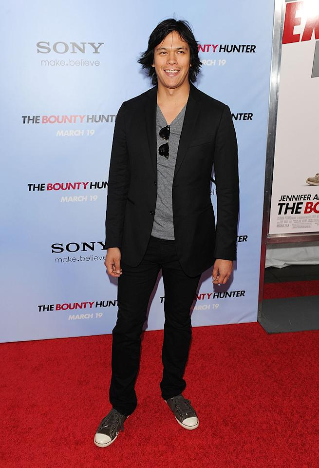 """<a href=""""http://movies.yahoo.com/movie/contributor/1809023720"""">Chaske Spencer</a> at the New York City premiere of <a href=""""http://movies.yahoo.com/movie/1810129411/info"""">The Bounty Hunter</a> - 03/16/2010"""