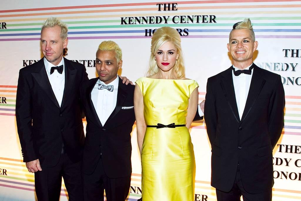 """Gwen Stefani, in a gorgeous silk Prada gown, and her No Doubt crew were one of the many musical acts who paid homage to one of the night's other nominees, Paul McCartney, by performing the former Beatles' hit, """"Hello, Goodbye."""" Paul Morigi/<a href=""""http://www.wireimage.com"""" target=""""new"""">WireImage.com</a> - December 5, 2010"""