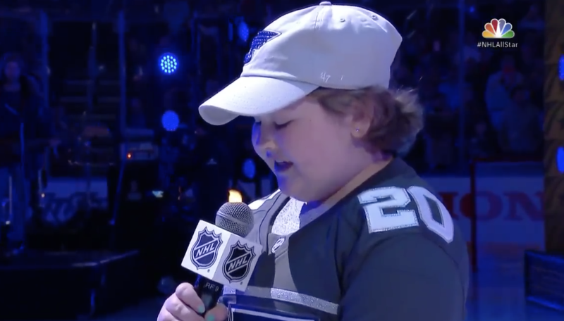 The Blues superfan was all voice. (Twitter/NBCSports)