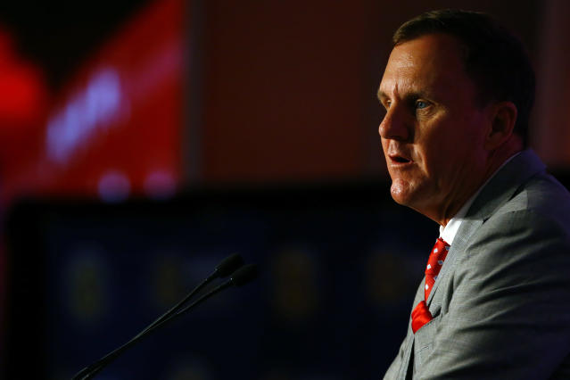 Arkansas head coach Chad Morris speaks to reporters during the NCAA college football Southeastern Conference Media Days, Wednesday, July 17, 2019, in Hoover, Ala. (AP Photo/Butch Dill)