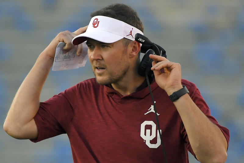 FILE - In this Sept. 14, 2019, file photo, Oklahoma coach Lincoln Riley stands on the sideline during the first half of the team's NCAA college football game against UCLA, in Pasadena, Calif. Baylor coach Matt Rhule and Oklahoma's Lincoln Riley took over their teams under drastically different circumstances. Now they will coach against each other in the Big 12 championship game. (AP Photo/Mark J. Terrill, File)