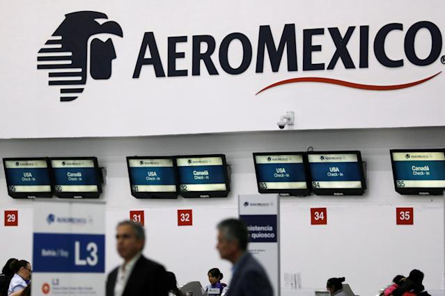<p>A logo of Aeromexico is pictured inside Benito Juarez international airport in Mexico City, Mexico, July 31, 2018. (Photo: Carlos Jasso/Reuters) </p>