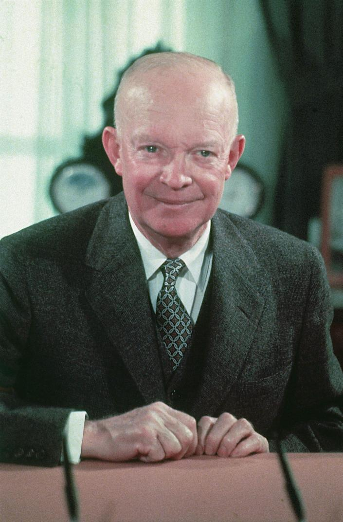 President Dwight Eisenhower in 1956, in the White House, in Washington, D.C.