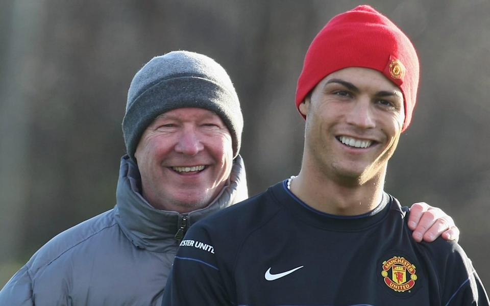 Manager Sir Alex Ferguson and Cristiano Ronaldo of Manchester United in action during a First Team training session at Carrington Training Ground on December 9 2008, - Getty Images