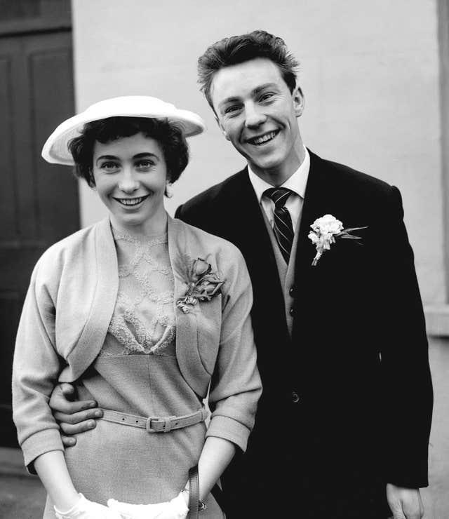 Jimmy Greaves, aged 18, with his bride Irene Barden after their wedding