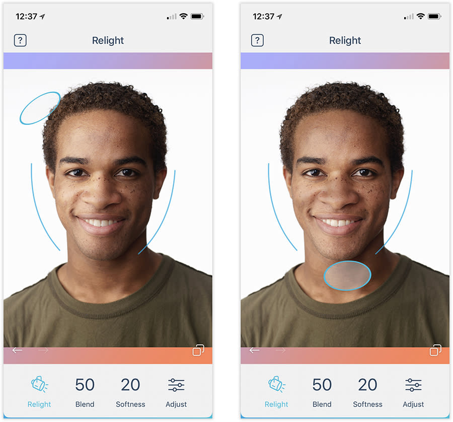 """In Facetune 2 (the paid version), you can move the """"light"""" around your face."""