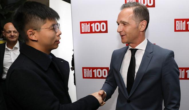 Hong Kong activist Joshua Wong meets German Foreign Minister Heiko Maas in Berlin. Photo: EPA-EFE