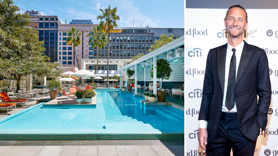 Left: The Ivy Pool Club, one of the 70-odd venues owned by Merivale Group. Right: Merivale CEO Justin Hemmes. <em>(Photos: Merivale, Getty)</em>