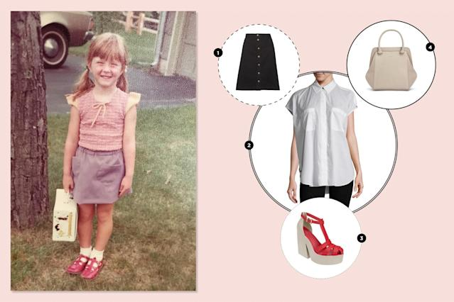 "<p>This beloved first-day-of-preschool outfit was entirely made by my mom! I love the mixing-and-matching of purple and red, and absolutely coveted that Snoopy lunchbox. I would just update the look to suit modern lines and to be more age-appropriate. —<em>Beth Greenfield, Yahoo Style + Beauty senior editor</em><br><br><a href=""https://www.net-a-porter.com/ca/en/product/875823/a_p_c__atelier_de_production_et_de_creation/therese-denim-skirt"" rel=""nofollow noopener"" target=""_blank"" data-ylk=""slk:APC denim skirt, $190"" class=""link rapid-noclick-resp""><span>APC denim skirt, $190</span></a><br><a href=""https://www.gilt.com/brand/helmut-lang/product/1175873786-helmut-lang-cap-sleeve-placket-top?origin=search"" rel=""nofollow noopener"" target=""_blank"" data-ylk=""slk:Helmut Lang cap sleeve top, $99.98"" class=""link rapid-noclick-resp""><span>Helmut Lang cap sleeve top, $99.98</span></a><br><a href=""http://shopmelissa.com/sale/melissa-strips#272=557"" rel=""nofollow noopener"" target=""_blank"" data-ylk=""slk:Melissa Strips chunky red gel heels, $80"" class=""link rapid-noclick-resp""><span>Melissa Strips chunky red gel heels, $80</span></a><br><a href=""http://mattandnat.com/shop/handbags/all-handbags/sheenan-koala"" rel=""nofollow noopener"" target=""_blank"" data-ylk=""slk:Matt & Nat handbag, $108.50"" class=""link rapid-noclick-resp""><span>Matt & Nat handbag, $108.50</span></a> </p>"