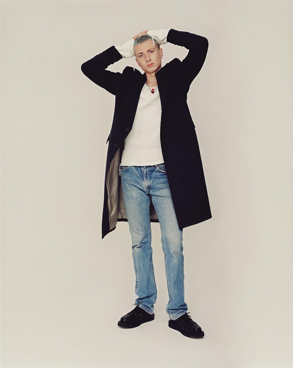 Theo wears DUNHILL jumper, £595 (dunhill.com). Levis vintage jeans. George Cox shoes, £210 (georgecox.co.uk). Coat and jewellery, Theo's own