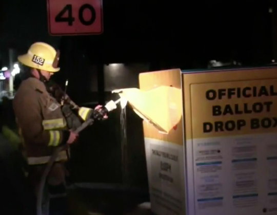 Ballots damaged after drop box is set on fire in Los Angeles (CBSLA)