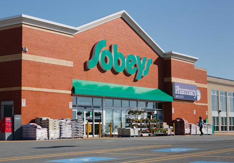DARTMOUTH, CANADA - MAY 29, 2014: Sobeys Inc. is Canada's second largest food retailer with more than 1,500 supermarkets and a number of banners. Sobeys is headquartered in Stellarton Nova Scotia and operates in all Canadian provinces.