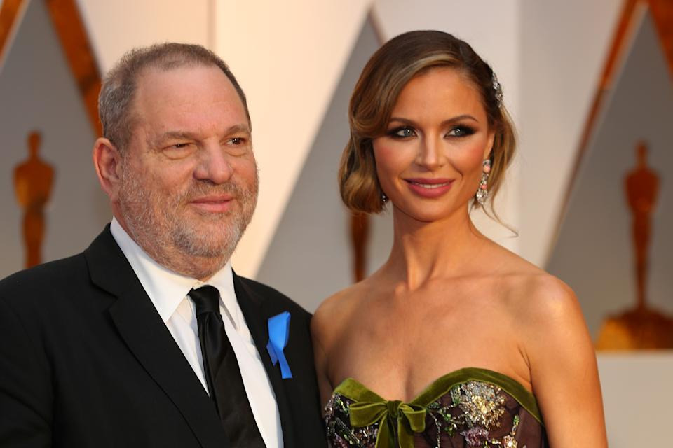 Chapman with ex-husband Harvey Weinstein in Febuary 2017, months before allegations against him would be made public. (Photo: REUTERS/Mike Blake)