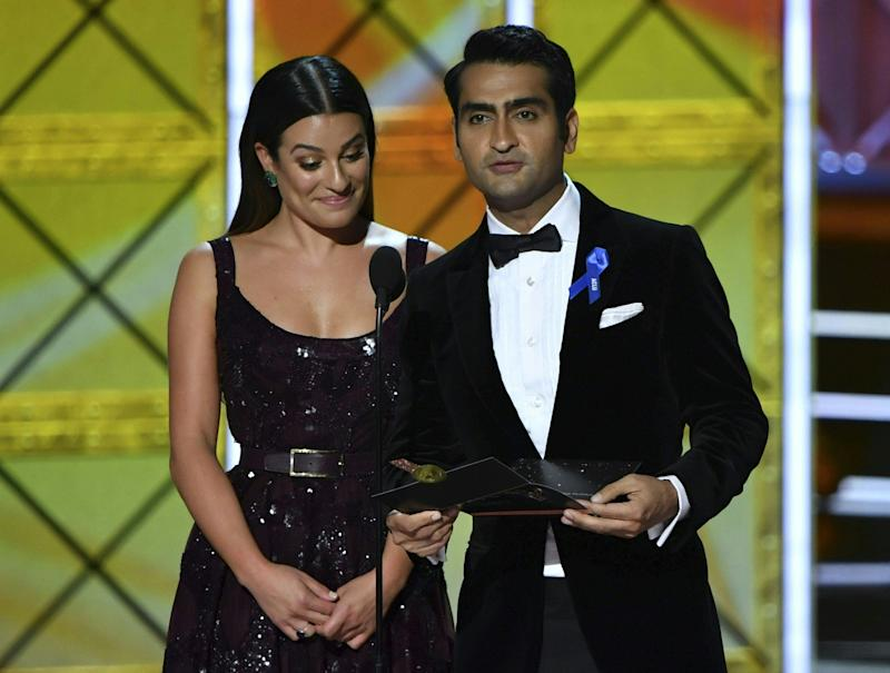 Lea Michelle and Kumail Nanjiani speak onstage during the 69th Emmy Awards at the Microsoft Theatre on Sept. 17, 2017 in Los Angeles, California.