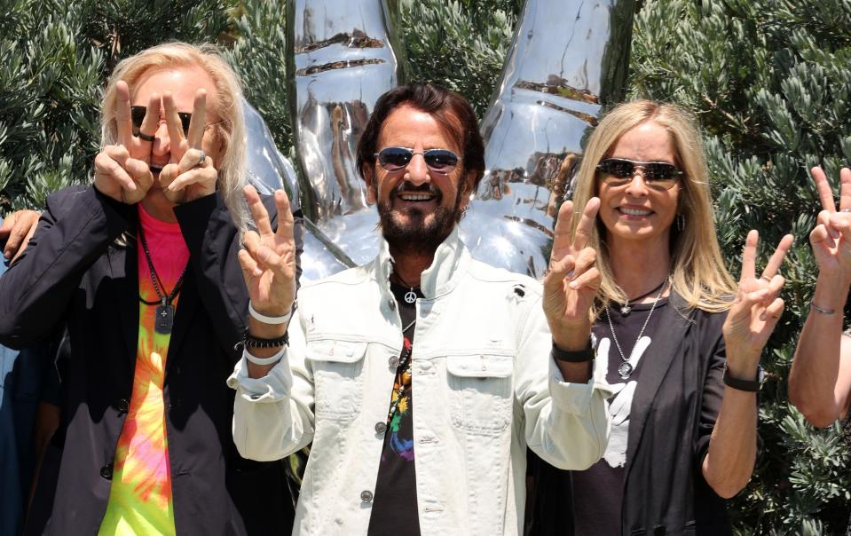 (L-R) Joe Walsh, Ringo Starr, and Barbara Bach attend Ringo Starr's Peace & Love Birthday on July 07, 2021 in Beverly Hills, California. (Photo by Kevin Winter/Getty Images)