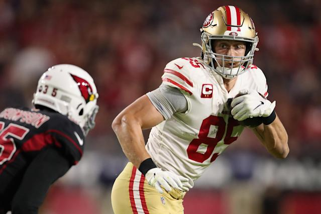 "<a class=""link rapid-noclick-resp"" href=""/nfl/teams/san-francisco/"" data-ylk=""slk:Niners"">Niners</a> tight end George Kittle is expected to play against the Packers on Sunday night. (Photo by Christian Petersen/Getty Images)"