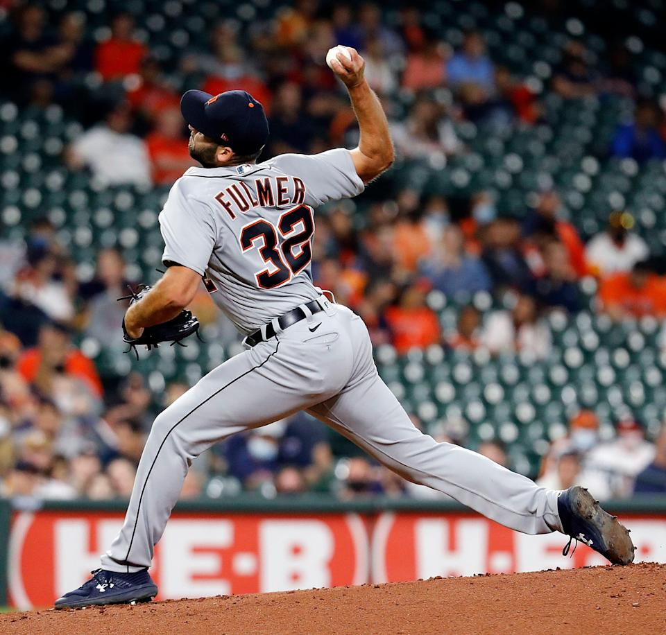 Michael Fulmer of the Detroit Tigers pitches in the first inning against the Houston Astros at Minute Maid Park on April 14, 2021 in Houston, Texas.
