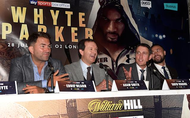 Boxing - Dillian Whyte Press Conference - Dorchester Hotel, London, Britain - June 7, 2018 Promoter Eddie Hearn, Adam Smith, promoter David Higgins and Joseph Parker Action Images via Reuters/Alan Walter