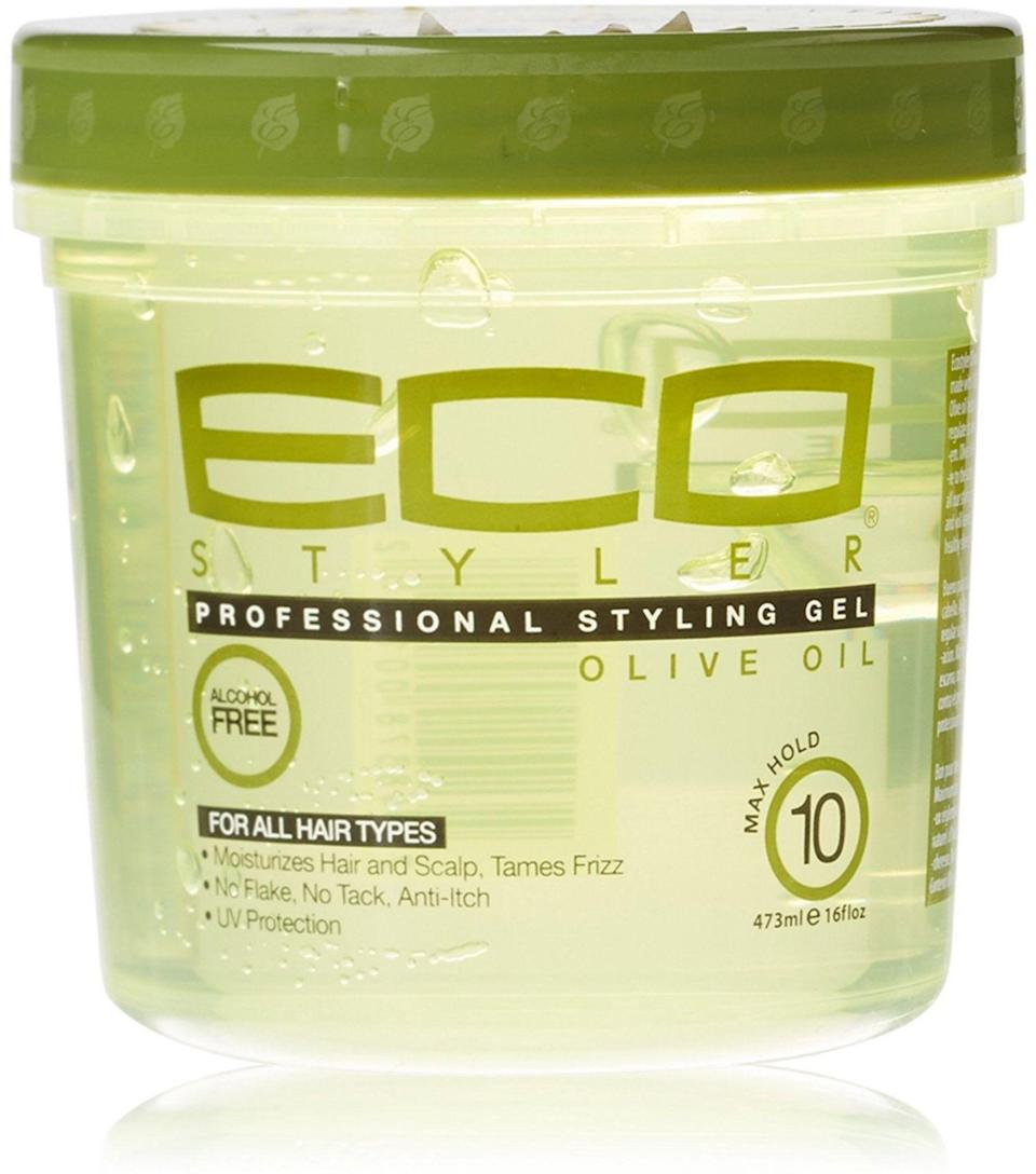 """<p><strong>ECOCO</strong></p><p>walmart.com</p><p><strong>$2.98</strong></p><p><a href=""""https://go.redirectingat.com?id=74968X1596630&url=https%3A%2F%2Fwww.walmart.com%2Fip%2F40720827&sref=https%3A%2F%2Fwww.goodhousekeeping.com%2Fbeauty-products%2Fg33809765%2Fbest-gel-for-curly-hair%2F"""" rel=""""nofollow noopener"""" target=""""_blank"""" data-ylk=""""slk:Shop Now"""" class=""""link rapid-noclick-resp"""">Shop Now</a></p><p>This one of Hardges' staples. <strong>All you need for perfect curls is to use a leave-in conditioner followed by this gel.</strong> """"You don't have to do this whole series of creams, and it's not going to flake,"""" says Hardges. She cautions that a little goes a long way — if you use too much, you could see some flaking.</p>"""