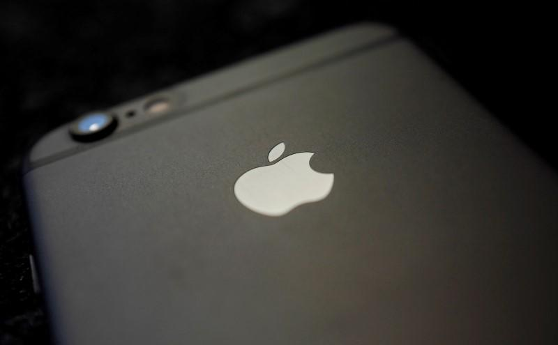Details are pictured on the backside of an Apple Iphone 6 on a table in a restaurant in Hanau