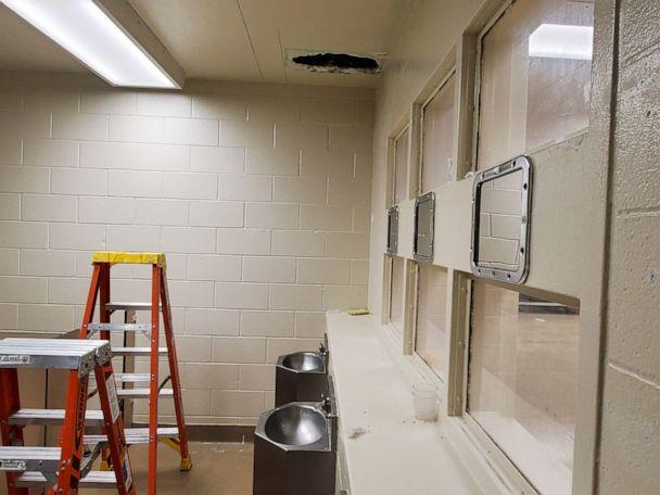 PHOTO: A photo released by the Monterey County Sheriff's office shows a ceiling hole used by murder suspects Jonathan Salazar and Santos Fonseca to escape from the Monterey County Adult Detention Facility in Salinas, Calif., early on Nov. 3, 2019. (Monterey County Sheriff )