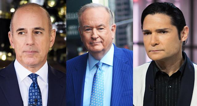 Matt Lauer, Bill O'Reilly, and Corey Feldman. (Photo: Getty Images)