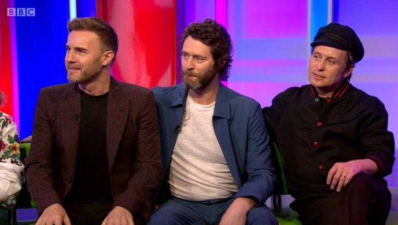 Quick getaway: Gary Barlow disappeared midway through an interview with Take That after feeling unwell (BBC iPlayer)
