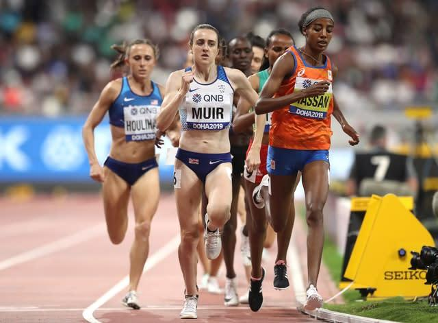 Laura Muir, centre, finished fifth as Sifan Hassan, right, took gold (Martin Rickett/PA)
