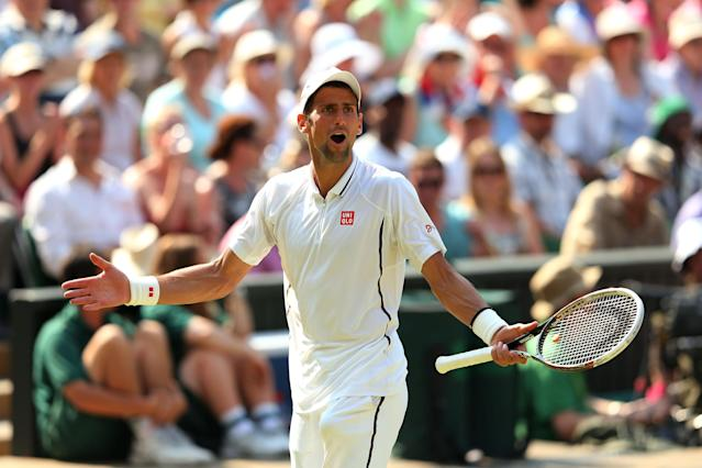 LONDON, ENGLAND - JULY 07: Novak Djokovic of Serbia reacts during the Gentlemen's Singles Final match against Andy Murray of Great Britain on day thirteen of the Wimbledon Lawn Tennis Championships at the All England Lawn Tennis and Croquet Club on July 7, 2013 in London, England. (Photo by Julian Finney/Getty Images)