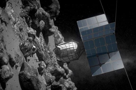 Artist concept of a commercial spacecraft collecting a sample rock off the surface of an asteroid.