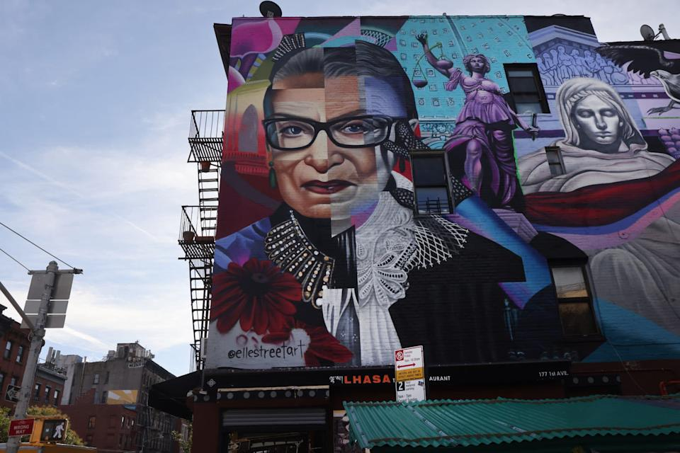 A mural of the late Supreme Court Justice Ruth Bader Ginsburg stands in Manhattan's East Village in New York City.