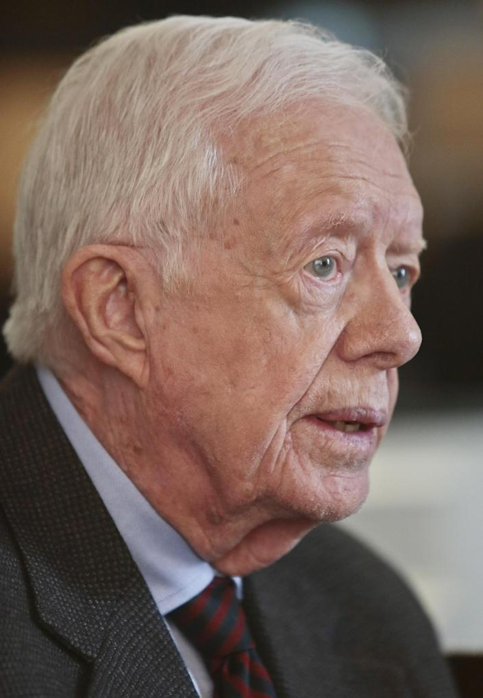 """Former U.S. President Jimmy Carter speaks during an interview on Monday March 24, 2014 in New York. Carter said Monday that he doesn't support the Palestinian-led """"boycott, divest, sanction"""" campaign against Israel but said products made in Israel-occupied Palestinian territories should be clearly labeled so buyers can make a choice about them. (AP Photo/Bebeto Matthews)"""