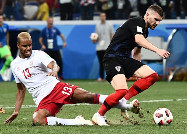 Mathias Jorgensen's foul on Ante Rebic, who was clean through on goal in the World Cup Round of 16 match between Denmark and Croatia, was a yellow card, not a red card. (Getty)