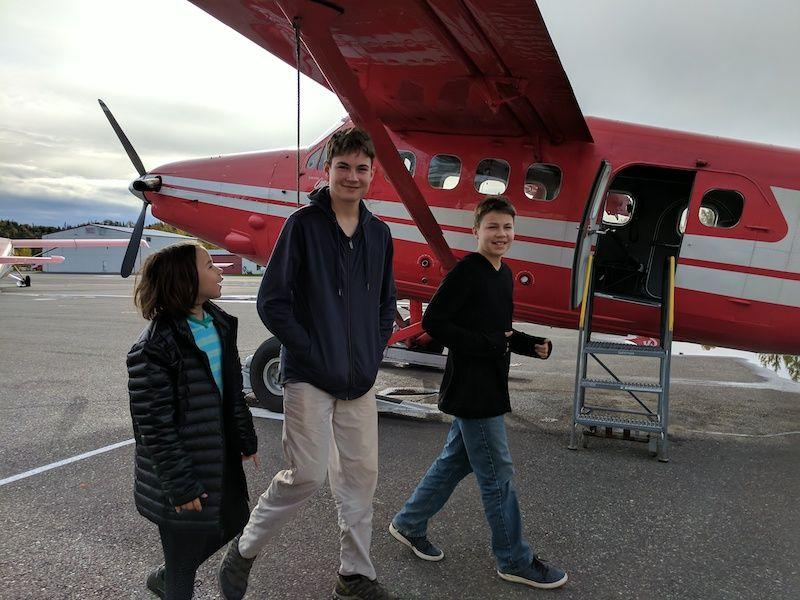 The kids get ready for a flightseeing tour in Alaska in 2017.