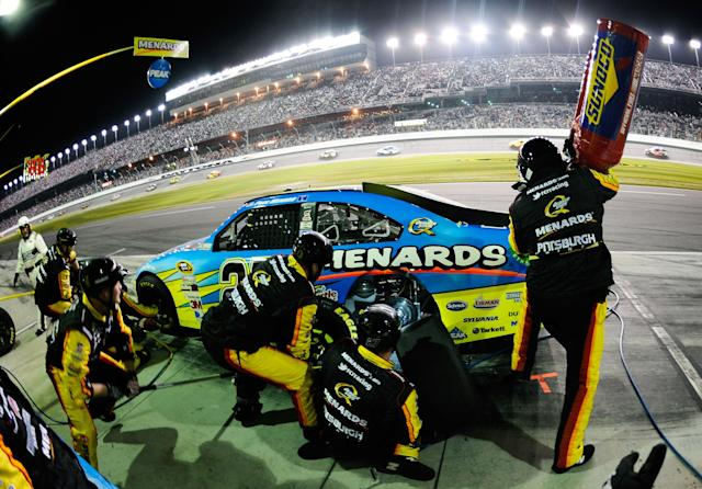 DAYTONA BEACH, FL - FEBRUARY 27: Paul Menard, driver of the #27 Peak/Menards Chevrolet, pits during the NASCAR Sprint Cup Series Daytona 500 at Daytona International Speedway on February 27, 2012 in Daytona Beach, Florida. (Photo by Jared C. Tilton/Getty Images for NASCAR)