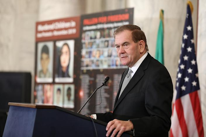Gov. Tom Ridge, the United States' first Homeland Security Secretary, speaking at an event in the Kennedy Caucus room in the U.S. Senate, on Dec. 4, 2019, entitled, Iran Uprising: The Nations Rises for Freedom. (Siavosh Hosseini/NurPhoto via Getty Images)
