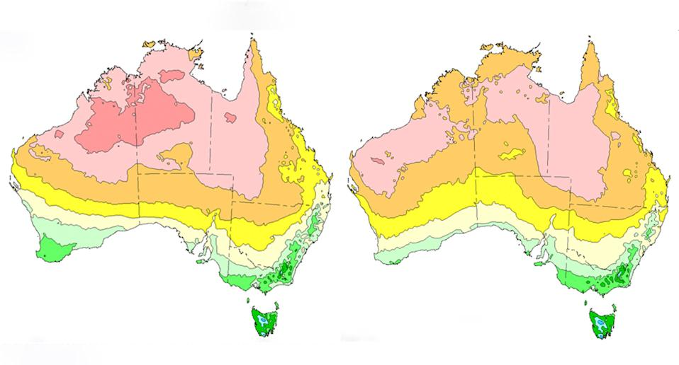 Two weather maps show Australia's overall temperature in November 2020 and December 2020.