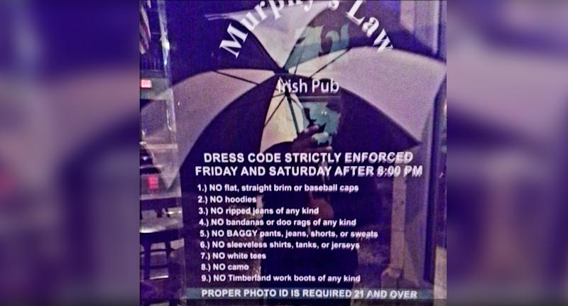 The dress code (pictured) listed banned clothing items