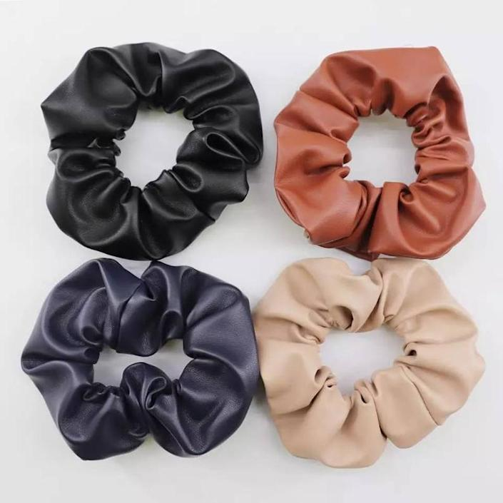 Faux leather handmade scrunchies Vintage style hair image 0