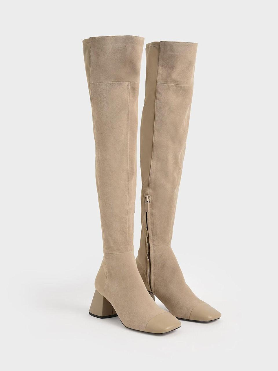 <p><span>Charles &amp; Keith Leather &amp; Kid Suede Thigh High Boots</span> ($139)</p>