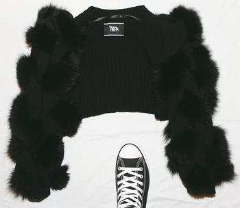 black fur crop jacket $2,199