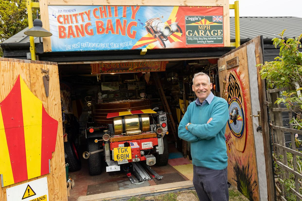 Nicholas Pointing turned his shed into a Chitty Chitty Bang Bang-inspired 'inventor's workshop' (Cuprinol Shed of the Year 2021/PA)