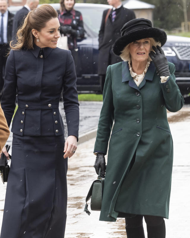 Camilla and Kate on an engagement in February with Charles and William. (Getty Images)