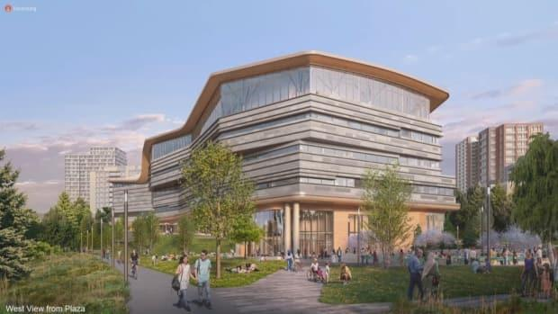 A view of what the west side of the building will look like.