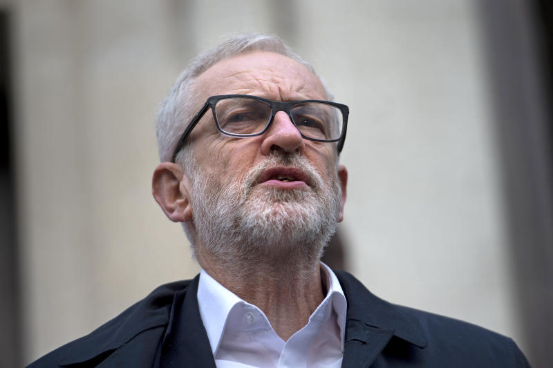 Labour leader Jeremy Corbyn speaking outside Birkbeck/SOAS University of London, at the announcement of his parties of the plan for the extension of workers� rights, whilst on the General Election campaign trail.