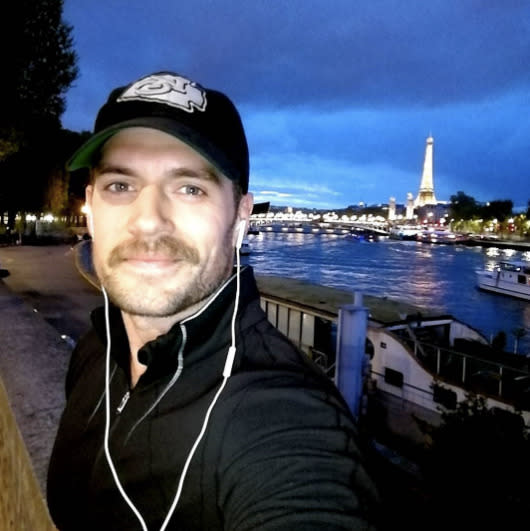 """<p>When in Paris, Superman goes for a run. Describing the city as """"far more beautiful than I remember,"""" Cavill, with a caterpillar on his lip, shared a snap from his run in April. (Photo: <a rel=""""nofollow noopener"""" href=""""https://www.instagram.com/p/BS60vDJF1vq/"""" target=""""_blank"""" data-ylk=""""slk:Henry Cavill via Instagram"""" class=""""link rapid-noclick-resp"""">Henry Cavill via Instagram</a>) </p>"""