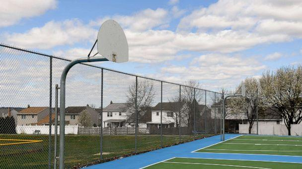 PHOTO: Basketball backboards with the rim removed at the Maidencreek Community Park in Maidencreek township, Pa., April 2, 2020. (MediaNews Group via Getty Images)