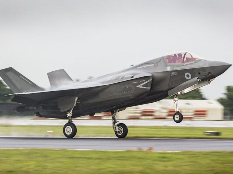 A F-35 fighter jet landing at RAF Fairford: PA