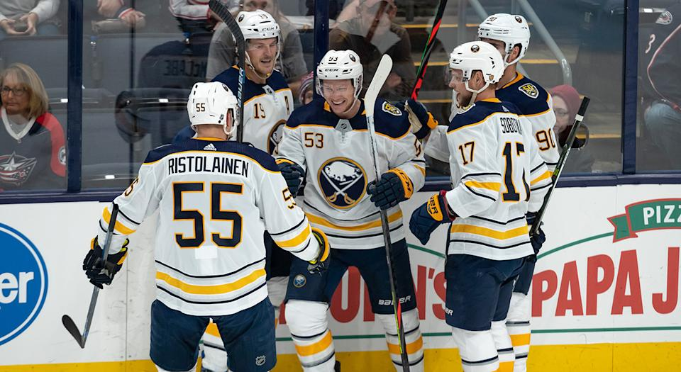 The Sabres are on fire to start the season. (Photo by Adam Lacy/Icon Sportswire via Getty Images)